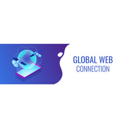 global web connection isometric 3d banner header vector image