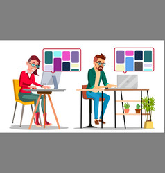 Graphic designer at work man woman vector