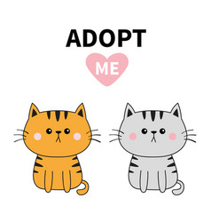 Gray orange cat silhouette adopt me pink heart vector