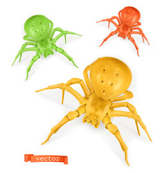 halloween red yellow and green spiders thomisidae vector image