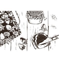 hand drawn vintage strawberry set vector image