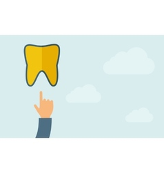 Hand pointing to a tooth icon vector