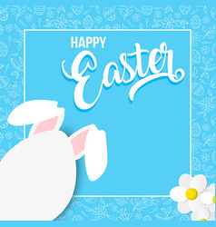 Happy spring card with easter rabbit egg vector
