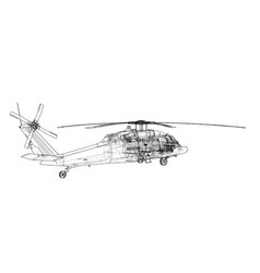 helicopter outline military equipment vector image
