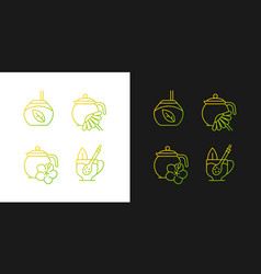 Herbal tea gradient icons set for dark and light vector