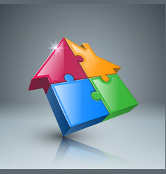 house puzzle icon on the grey background vector image