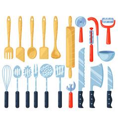 Kitchen utensils kitchenware cutlery tools vector