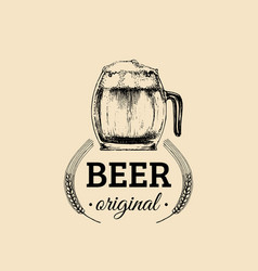 kraft beer mug logo lager cup retro sign hand vector image