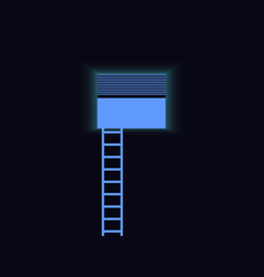 Ladder to the window blue staircase light vector