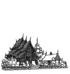 Lanna Temple sketchbook vector image