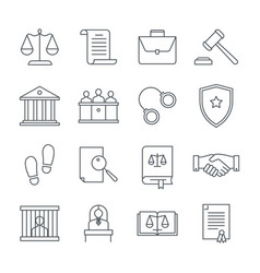 lawyer and law linear icons set consideration of vector image