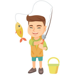 little boy holding fishing rod with fish on hook vector image