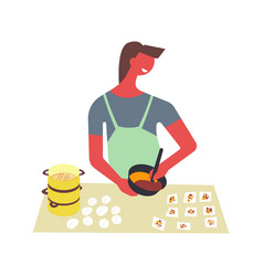Man in apron cooks food and serves in bowls vector