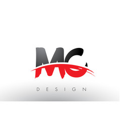 Mc m c brush logo letters with red and black vector