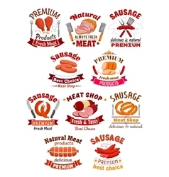 Meat product icon Pork ham and sausage vector