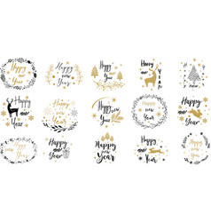 merry christmas happy new yeartypography set vector image