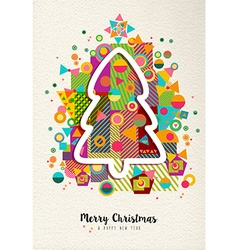 Merry christmas new year colorful fun tree outline vector image