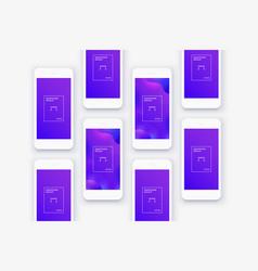 minimalistic white phones background lot mockups vector image