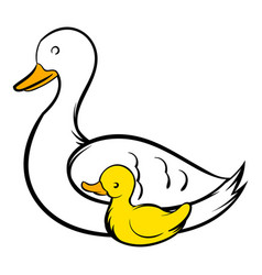 Mother swan and cygnet icon icon cartoon vector