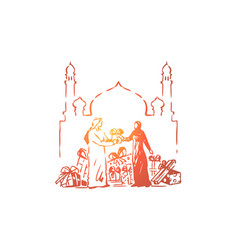 muslim people giving gifts each other vector image