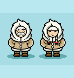 Old eskimo cute couple in cartoon style arctic vector