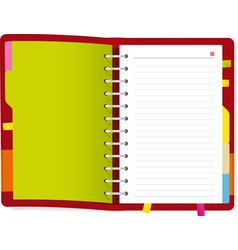 Open agenda book with copy space and markers vector