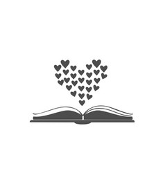 open book icon with hearts shaped in bigger heart vector image