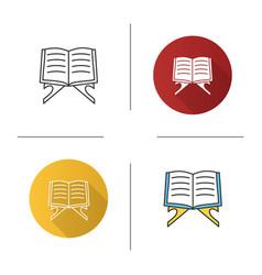 Open quran book icon vector
