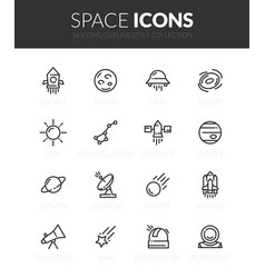 Outline black icons set vector