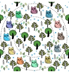 Owls in the forest seamless pattern vector image