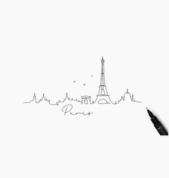 Pen line silhouette paris vector