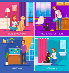 people with pets 2x2 design concept vector image