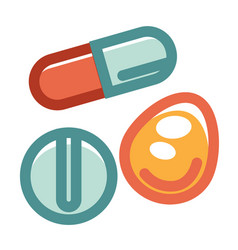 Pills in various shapes and colors set isolated on vector