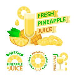 Pineapple juice badge emblems vector