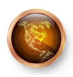 radar icon realistic surveillance radar vector image