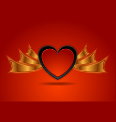 red black hearts with bronze wings abstract vector image