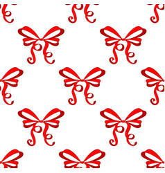 red ribbon tied bow hand drawn sketch seamless vector image
