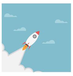 Rocket launch rocket ship soar up into sky vector