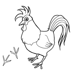 Rooster with paw print Coloring Pages vector image