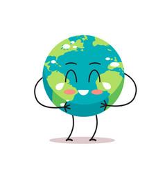 sad earth character crying unhappy cartoon mascot vector image