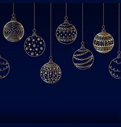 Seamless border from golden christmas ball toy vector
