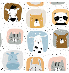 seamless childish pattern with funny hand drawn vector image