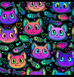 Seamless cute bright cat heads and fish vector