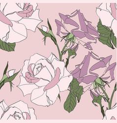 Seamless pattern vintage pink roses flowers vector