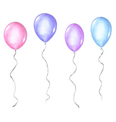 set coloful watercolor balloons isolated on vector image