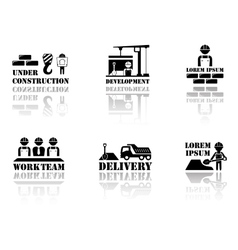 Set industrial symbols with reflection silhouette vector