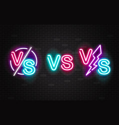 set neon glowing battles versus signs vector image