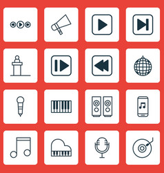 Set of 16 music icons includes audio mobile vector