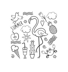 Set of summer doodles vector