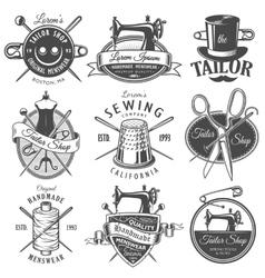 Set of vintage monochrome tailor emblems vector image
